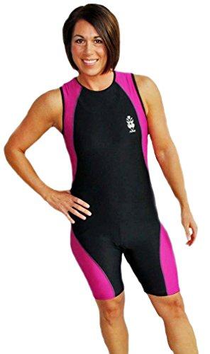 Astek Womens Modest Triathlon Suit Swim Bike Run Trisuit (Black / Pink, - Trisuit Women