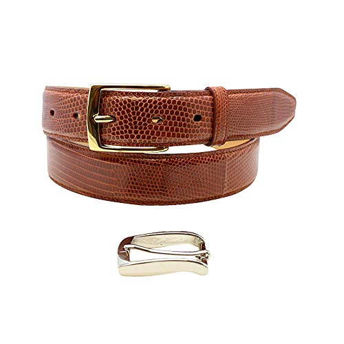 Size 36 Cognac Genuine Lizard Belt - 1 ¼ inch (32mm) Wide - Shiny Glazed - Gold and Silver Buckles - Factory Direct Price - Made in USA by Real