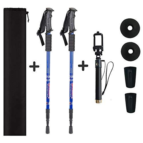 Azusa 2 Pack Anti-Shock Collapsible Trekking/Walking/Hiking Poles Lightweight Telescopic Hiking/Walking Sticks, 1 Pair, Bonus with Selfie Stick (Blue)