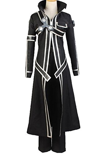 Ya-cos Halloween Costume Men's Kirito Anime Cosplay Battle Suit Black -