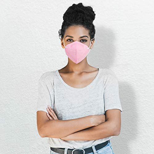 KN95 Face Mask 20 Pack, Eventronic 5-Layer Breathable Cup Dust Mask with Elastic Earloop and Nose Bridge Clip,Air Pollution, Pink