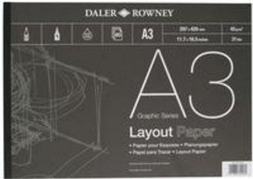 Daler Rowney DR403030300 - Paquete de papel de dibujo (liso, tamaño A3, 80 hojas, lápiz y carboncillo) Daler-Rowney