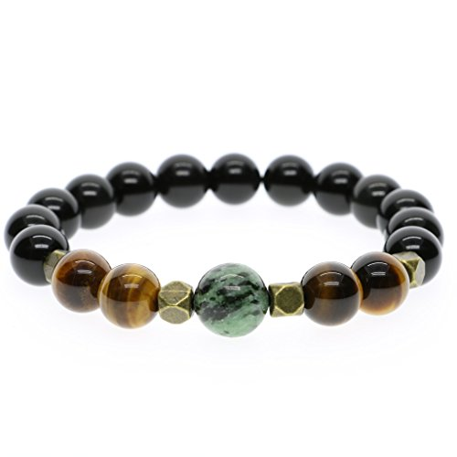AmorWing Natural Black Obsidian Tiger Eye Prayer Mala Stretch Stones Bracelet with Gift Box for Men and Women 12mm L