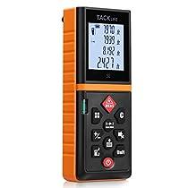 Tacklife Advanced Laser Measure 131 Ft Digital Laser Distance Meter with Mute Function Large LCD Backlit Display Measure Distance,Area and Volume,Pythagorean Mode Battery Included Black&Orange