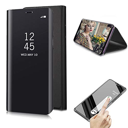 Cistor Samsung Galaxy S8 Plus Mirror Flip Case,Luxury Black Clear View Translucent Metal Electroplate Plating Case for Galaxy S8 Plus,Shockproof Hard PC Case with Stand Function Free Ring Holder