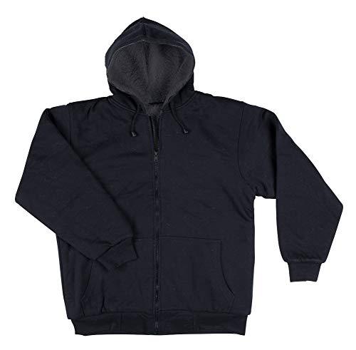 Razio - Men's Hooded Sweatshirt, Sherpa Lined, Zipper Front - Medium, Navy ()