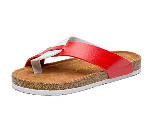 Unisex Offene Sandalen Flache Hausschuhe Sommer Zehentrenner Sandalen Pantoletten mit Korkfußbett 41 weiß schwarz 0f2CBM4Alr