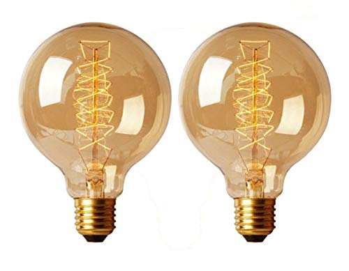 (CTKcom Edison Vintage Filament Light Bulbs Globe Round (2 Pack)- G95 E27 Antique Incandescent Bulb 40W Equivalent Warm White Lamps,Spiral Tungsten,for Loft Coffee Bar Restaurant Kitchen Lights.)