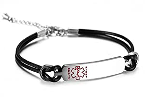 Stainless Steel Medical Alert ID Bracelet for Women with 2 Layers Black Genuine Leather,Free Engraving