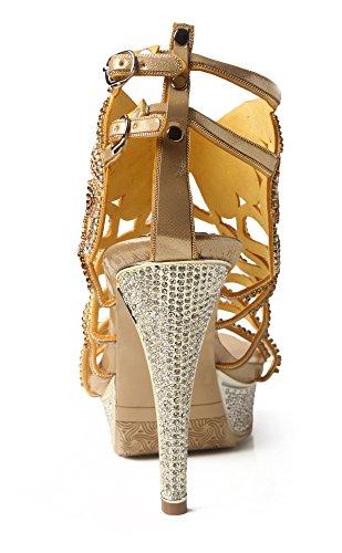 Stiletto Heels Gold Rhinestones Sandals Double Platform Pumps Shoes Strap Honeystore Women's qaIwHH1