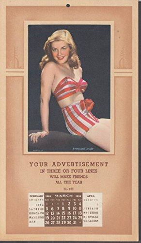 (Sweet & Lovely pin-up calendar salesman's sample 1950 2-piece swimsuit)