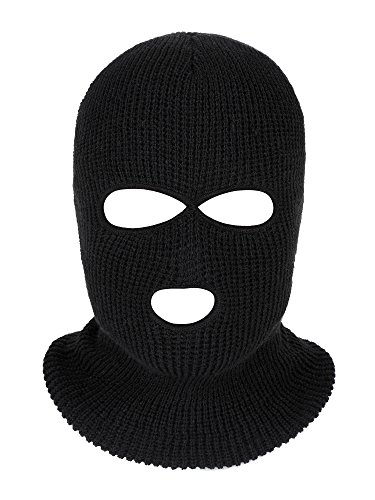 Satinior 3-Hole Knitted Full Face Cover Ski Mask, Adult Winter Balaclava Warm Knit Full Face Mask for Outdoor Sports (Black)]()