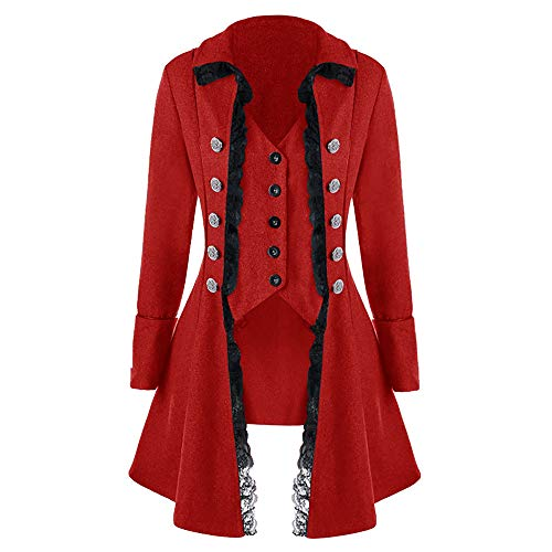 iLXHD Men's Coat Tailcoat Jacket Gothic Frock Coat Uniform Costume Praty Outwear(Wine Red,L)]()