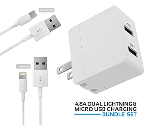 iPhone iPad Charger, Samsung Android Micro USB Charger, 3-in-1 Apple Certified Mfi Travel Dual-USB 4.8A Wall Charger + Micro-USB Cable + Lightning (1 Foot Ipad Mini Charger)