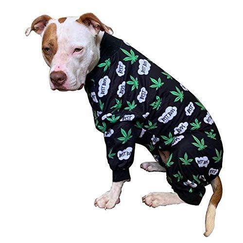 Tooth and Honey Pit Bull Pajamas/Cannabis Dog Pajamas/Lightweight Pullover Pajamas/Full Coverage Dog pjs/Pot Leaf Print (Large)