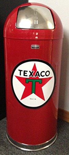 Retro Style Bullet Red Trash Can- Texaco Star
