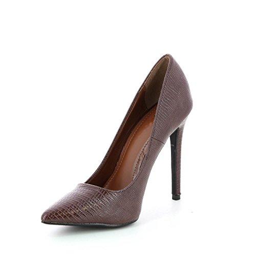 piel de stiletto serpiente punta marrón Marrón orificio con diseño Sandalias de d7XY4TYn