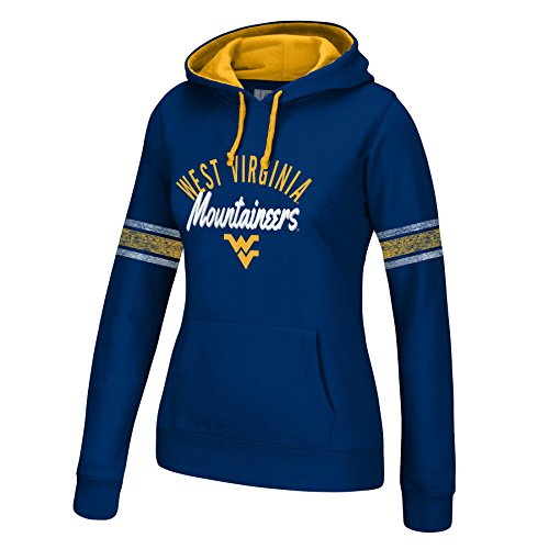Arms Sweatshirt - J America NCAA West Virginia Mountaineers Women's Essential Arm Stripe Hoodie, Small, Navy/Gold