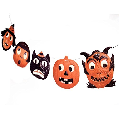 handmade vintage halloween jack o lantern garland german die cut reproductions on felt - German Halloween Decorations