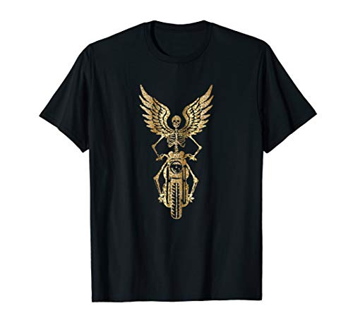 Skeleton Biker T-Shirt - Born to Ride - Leopard Metallic ()