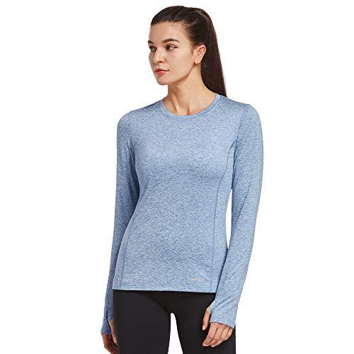 Ogeenier Vrouwen Thermische Fleece Tops Lange Mouw Running Shirt Workout Yoga Atletisch T-Shirt met Duimgat