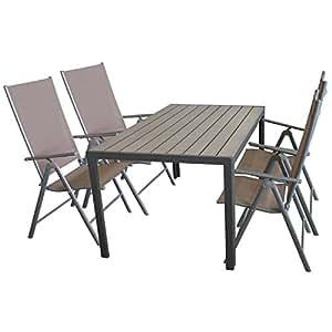 Mobiliario de jardín 150x 90cm aluminio jardín mesa con polywood mesa placa + 4x Elegante silla de jardín con 2x 1Cordaje, respaldo para 7posiciones, plegable, plata gris/taupe, respaldo alto de posición silla plegable
