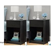 Set of 2 Nightstand MDF End Tables Pair Bedroom Table Furniture Multiple Colors (Black)