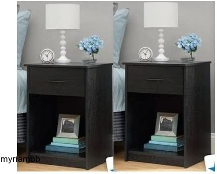 picture of Set of 2 Nightstand MDF End Tables Pair Bedroom Table