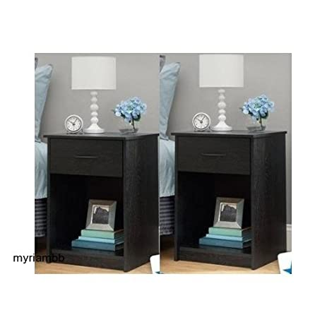 Amazon Set of 2 Nightstand MDF End Tables Pair Bedroom Table