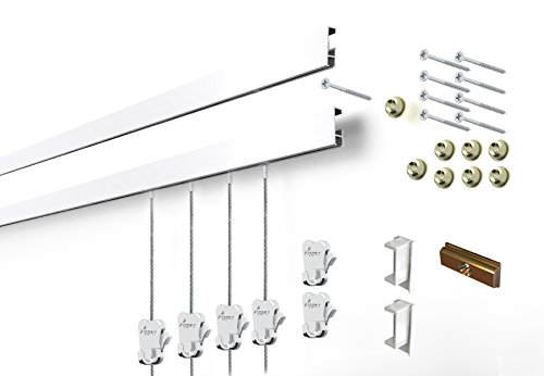 STAS Cliprail Complete Art Hanging Gallery System (2 rails 6 hooks and 4 cables, white rails)