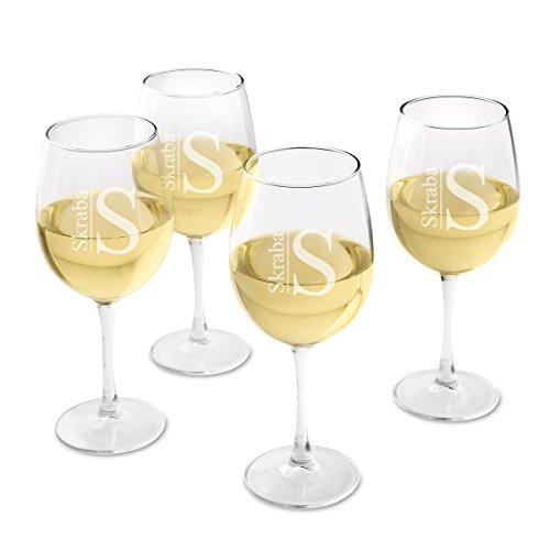 Monogrammed White Wine - Personalized White Wine Glass Set of 4 - Engraved Wine Glasses - Modern Monogram