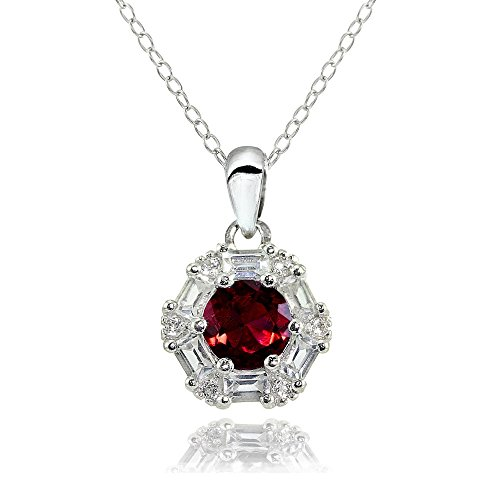 Sterling Silver Created Ruby and White Topaz Baguette & Round-Cut Fashion Necklace