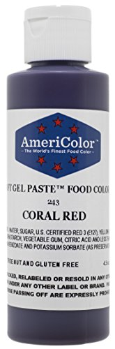 AmeriColor Soft Gel Paste - Coral Red Food Coloring, 4.5 Ounce