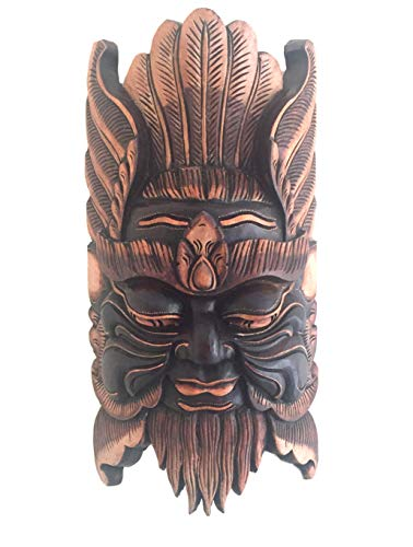 OMA African Mask Wall Hanging Decor Wise Man Good Luck Protection Mask Against Evil, Heavy Wood XL- 20
