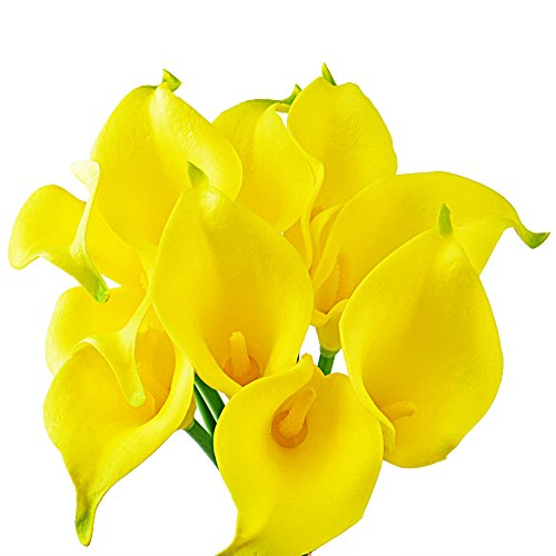 Wuudi 20pcs Calla Lily Bridal Wedding Bouquet head Latex Real Touch Flower Bouquets(Yellow)