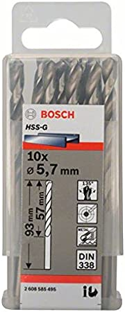 Pack de 10 brocas para metal HSS-G DIN 338 Bosch 2 608 585 492 5,3 x 52 x 86 mm