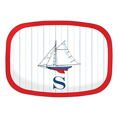 Chatsworth Sailboat Melamine Platter with Single Initial, Z, Multicolored