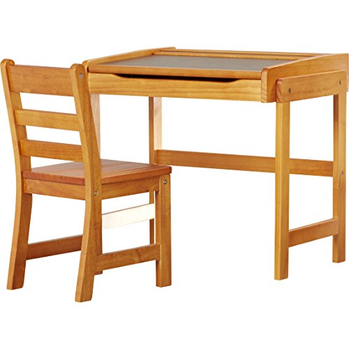 Pecan Finish Alexa Art Desk & Chair Set Made of Durable Wood 22'' H x 25'' W x 18.75'' D by Viv + RaeTM
