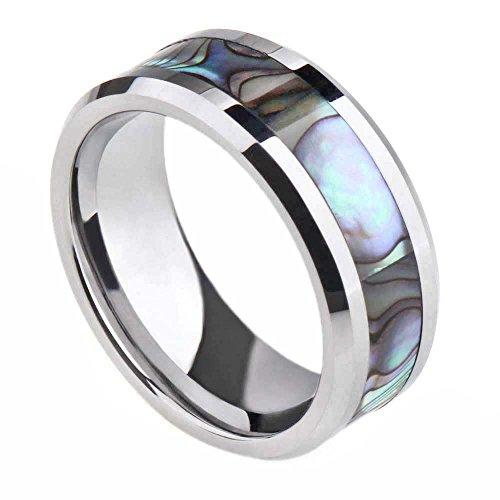 Mens Womens Titanium Ring Abalone Shell Inlay Wedding Bands Comfort Fit Beveled Edge