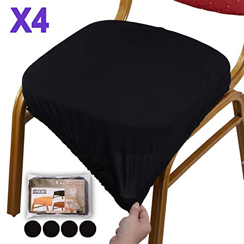 Seat Cushion Cover - Voilamart Chair Seat Covers, Stretchable Dining Chair Cover Slipcovers, Soft Chair Protectors for Dining Room Patio Office Chair - Pack of 4, Black