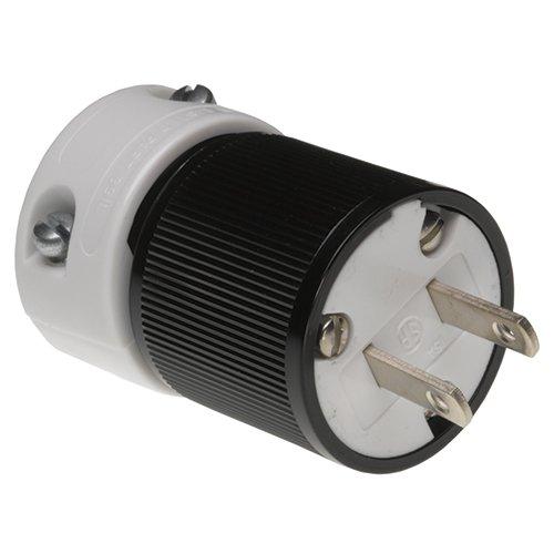 Woodhead 5176 Super-Safeway Plug, Industrial Duty, Straight Blade, Polarized, 2 Poles, 2 Wires, NEMA 1-15 Configuration, Nylon, Black and White, 15A Current, 125V Voltage