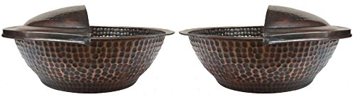Egypr gift shops Pair Copper Massage Therapy Pedicure Bowls + 2 Foot Rests by Egypt Gift Shops