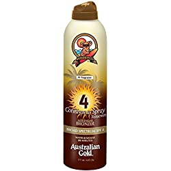 Australian Gold SPF 4 Continuous Spray Sunscreen with Instant Bronzer, 6 Fl Oz