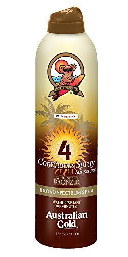 Suntan Self Tanning Water (Australian Gold SPF 4 Continuous Spray Sunscreen with Instant Bronzer, 6 Fl Oz)