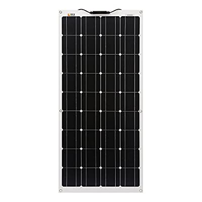 100 Watt 12 Volt Flexible Monocrystalline Lightweight Solar Panel for RV, Boats, Roofs, Uneven Surfaces, Ultra Thin with MC4 Connectors