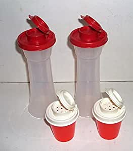 Tupperware Large Hourglass Salt and Pepper Shakers Plus Mini Midgets 2 Sets in Red