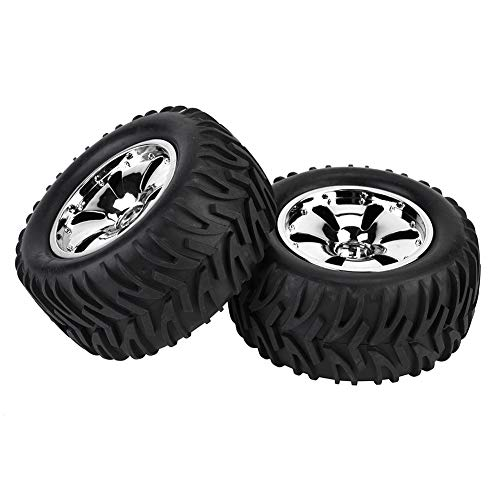 RC Car Rubber Tire, 2 Pcs Rubber Tires Tyres with Wheel Rim Hubs for HPI//MT/ZD Racing/LRP 1/10 RC Car Accessory Parts(银色) ()