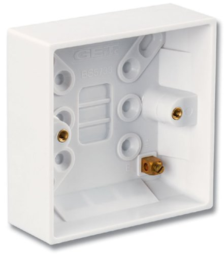 CTE2-BOX-02 - Siemon Single gang surface mount box for British CT faceplates, white, Pack of 3
