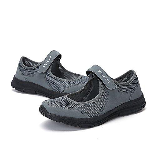 Mesh Automne Mode Gris Sport Slip De Dame Falaiduo Course Anti Fitness Fonc Chaussures Lger Dcontractes Velcro 1xBSdt