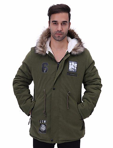 Plus Size Cotton M Men'S Regular Sleeves Long Print Polyester Cotton Simple Green Army Padded ZHUDJ Coat YwXHOvSS